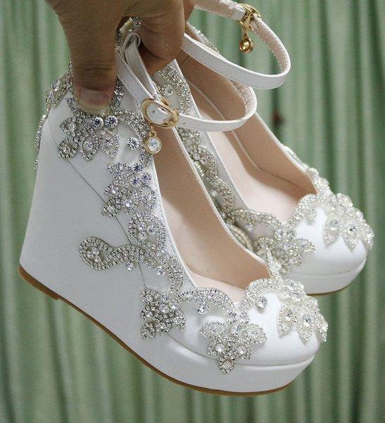 Cristallo regina strass incunea pattini delle pompe dolce delle donne di lusso della piattaforma dei cunei talloni che wedding vestono Tacchi alti