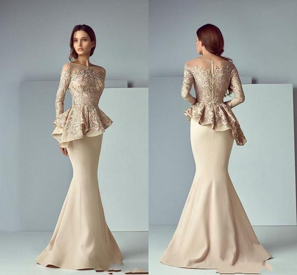 Più recente Champagne Lace Stain Peplum Long Evening Abiti da cerimonia Abiti gioiello Collo manica lunga Dubai Arabo sirena Prom Dress Saiid Kobeisy