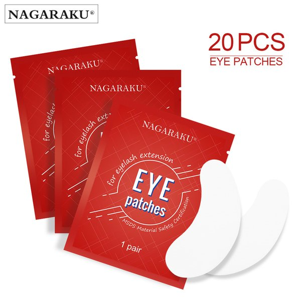 göz parçasının altında NAGARAKU Sıcak Satış 20 çift / çok ipek göz pedleri, kirpik uzatma göz jeli yamalar altında serbest tiftik