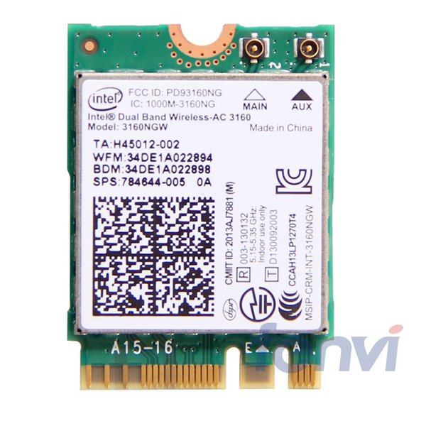 etworking Network Cards For intel Dual band Wireless-AC 3160 3160NGW NGFF M.2 Wifi Bluetooth 802.11ac 2.4G/5Ghz Laptop Wlan BT 4.0 Combo ...