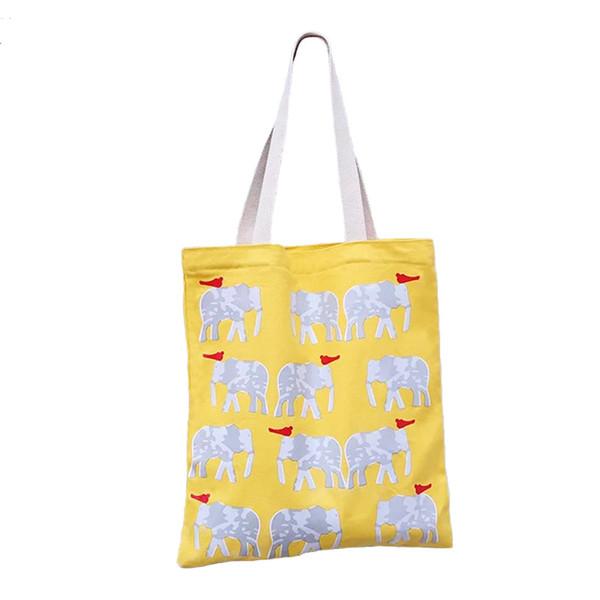 Tela super bella elefante giallo singola spalla trasportare vitalità ragazza studente protezione ambientale shopping bag BG418