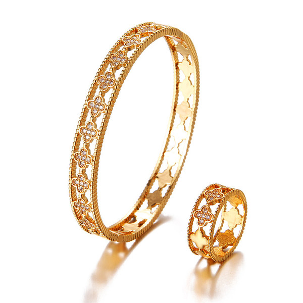 HONGHONG Brand Women Bangle&Bracelet Rings 2 Pcs Suit High-quality Classic Floral shape of plants Fashion Jewelry Sets