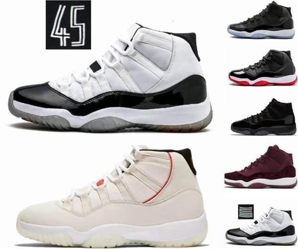 Platinum Tint XI Concord 11s 45 Prom Night Basketball Chaussures 11 Gym rouge chapeau et robe PRM Héritière Bred Hommes Femmes sport Chaussures de sport