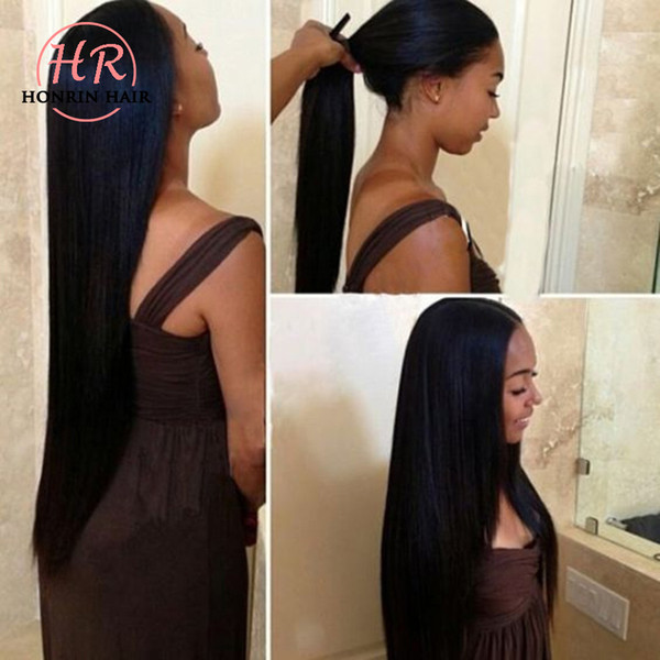 top popular Honrin Hair Full Lace Human Hair Wig Straight Malaysian Virgin Hair Pre Plucked 150% Density With Baby Hairs Lace Front Wig Bleached Knots 2019