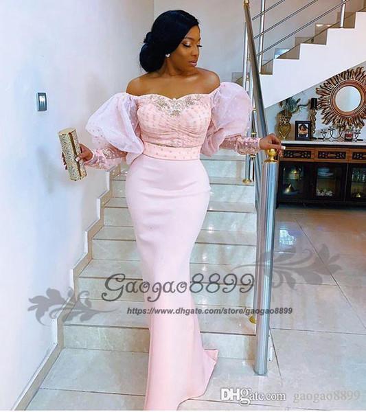 Reales de la manga larga de encaje vestidos de noche de Nigeria fuera del hombro de la manga de soplo elegante de la celebridad formal de los vestidos del partido del baile árabe africano de cuentas