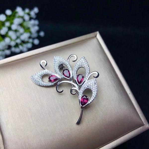 Handmade Flower Branch Design 925 Silver Seiko Made Natural Garnet Pendant And Brooch Multi-use Beautifu Brooch Women's Jewelry