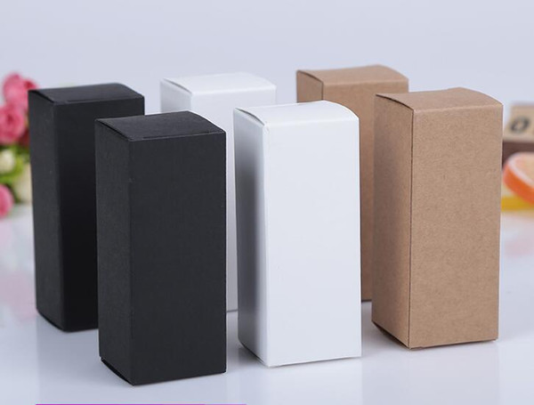 100pcs White Black Kraft Paper packaging Box Dropper Bottle Cosmetics Party Gift cardboard Boxes tubes 10ml/20ml/30ml/50ml/100ml