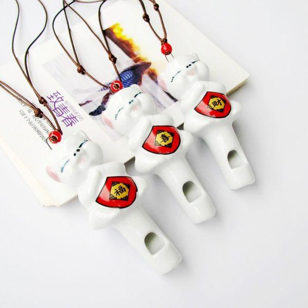 Cute Cartoon Pig Whistle Necklace Pendant DIY Ceramic Animal Pendant Accessories