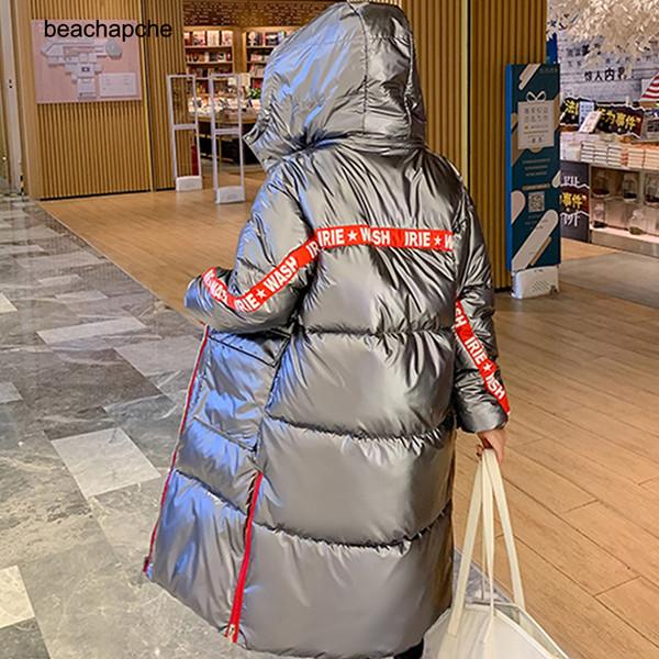 2019 New Arrival Moda feminina inverno jaqueta de algodão acolchoado revestimento morno Revestimentos das mulheres de prata cinzento casacos longos Parka Thicken Ladies