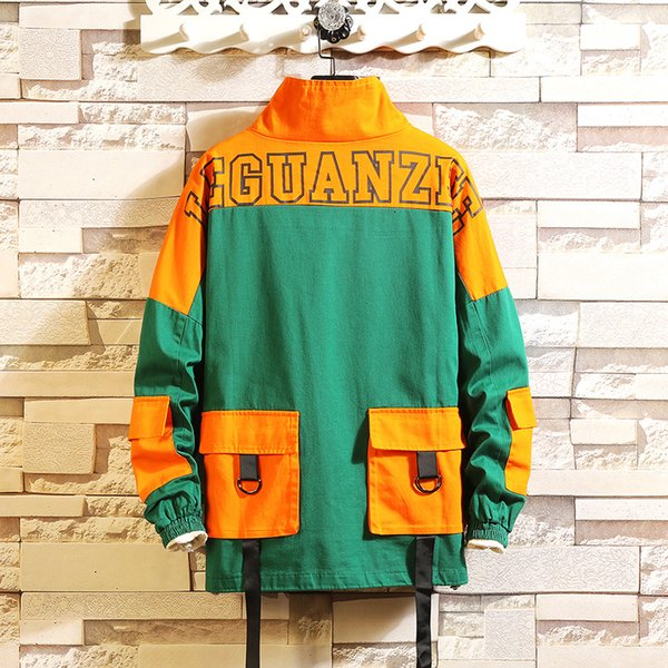 Hip Hop Jacket Windbreaker Men Japan Harajuku Pockets Jacket Coat Retro Casual Track Streetwear 2019 Autumn 5XL