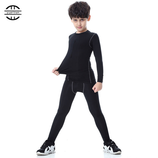 Yuerlian New Children Compression Wicking sport suit Fitness Tight Tracksuit Long T-shirt leggings Pant Gym Kids Running Set