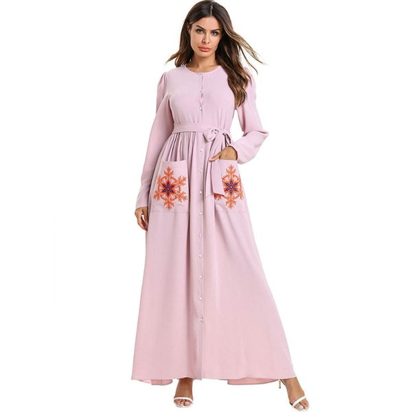 Muslim Fashion Women Abaya Long Sleeve O neck Front Button Flower Embroidery Pockets Pink High Waist Plus Size 4XL Maxi Party dress Ladies