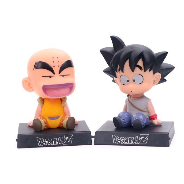 Presentes Bobble Head Dragon Ball Son Goku Krilin Chefe Phone Holder Figura Modelo Toy Dolls Crianças