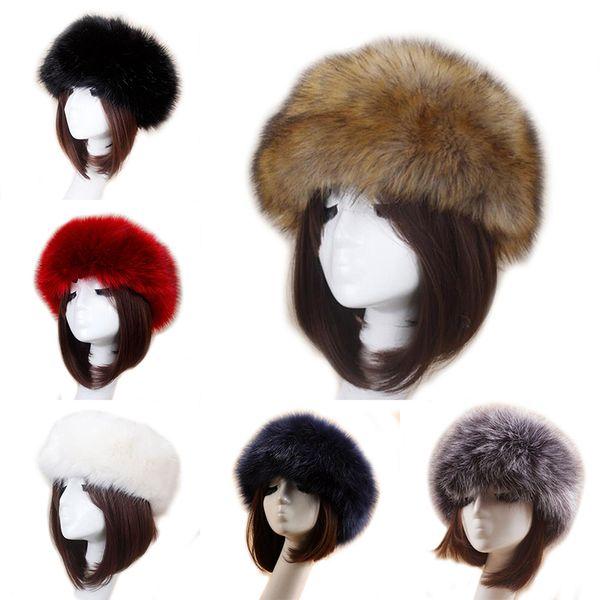 Unisex Thick Faux Fake Fur Headwear Euramerican Winter ear Warm Ski Hat Plush Head Hair Bands