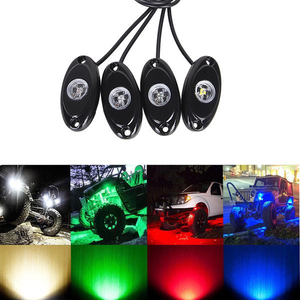 4 Pcs Universal 9W LED Rock Light Flood Beam 12V 24V 4x4 Under Body Trail Rig Lamp SUV ATV Boat Car Decorative Light