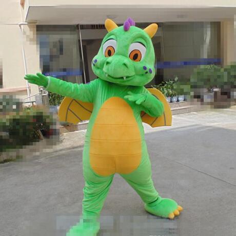 Nuevo adulto mejor venta de espuma de cumpleaños verde dragón traje de la mascota de dibujos animados navidad disfraces disfraz de la mascota de Halloween