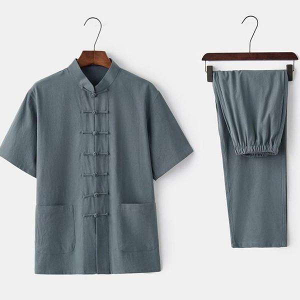 Summer New Men Shirt&Pant Chinese Mandarin Collar Tai Chi Tang Suit Traditional Single Breasted Kung Fu Set Plus Size 3XL 4XL