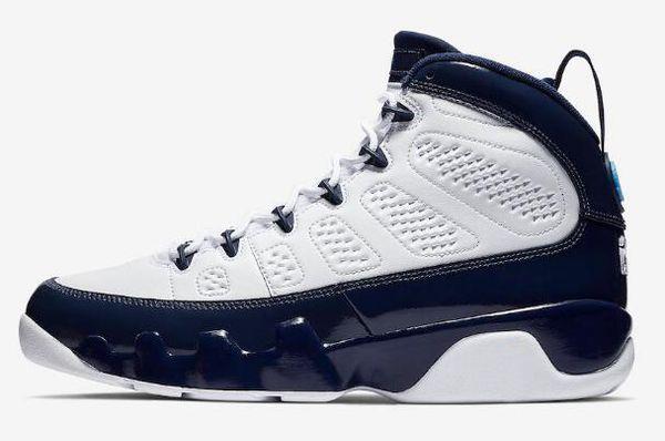 Kutu ile 9 UNC Mens basketbol ayakkabıları 9 s Beyaz Üniversitesi Mavi Midnight Donanma Spor Sneakers 9 s Açık Atletizm Ücretsi ...