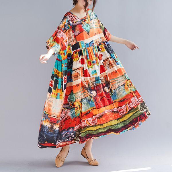 Nouveau Printemps Été Oversize Bohême Casual Femmes Robes Multi Couleur Imprimer Taille Haute Coton Lin Long Robe