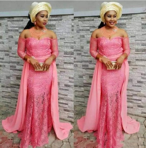 African Sexy Pink Off Shoulder Prom Dresses Lace Appliques Special Occasion Dresses Charming Party Dresses With Chiffon Detachable Train