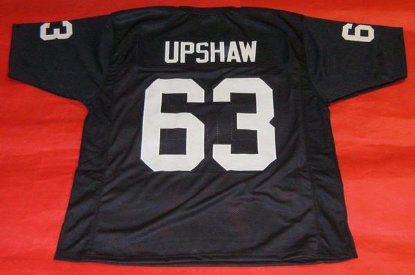 Ucuz retro # 63 GENE UPSHAW ÖZEL MITCHELL NESS Jersey siyah Erkek Dikiş High-end Boyutu S-5XL Futbol Formaları Koleji NCAA