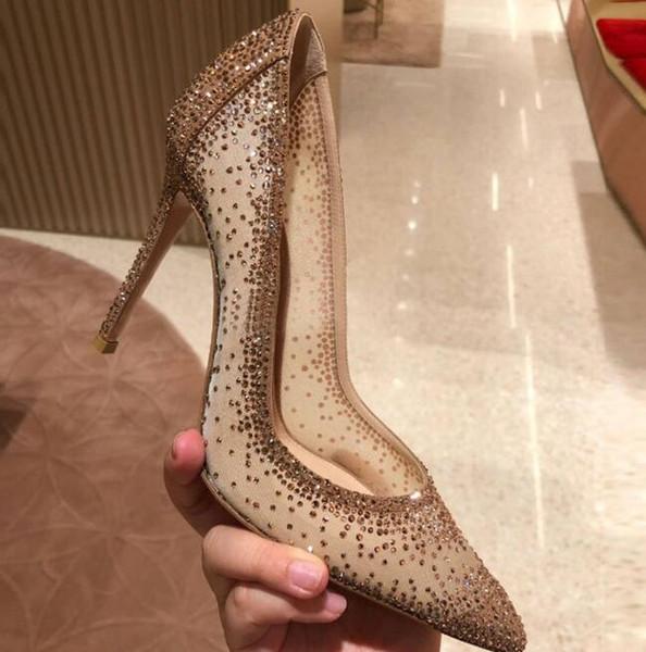 2019 color nude tacones altos zapatos de boda de las mujeres de la boca baja neta rhinestone tacones altos 12/10 / 8 cm puntiagudo zapatos de mujer sexy