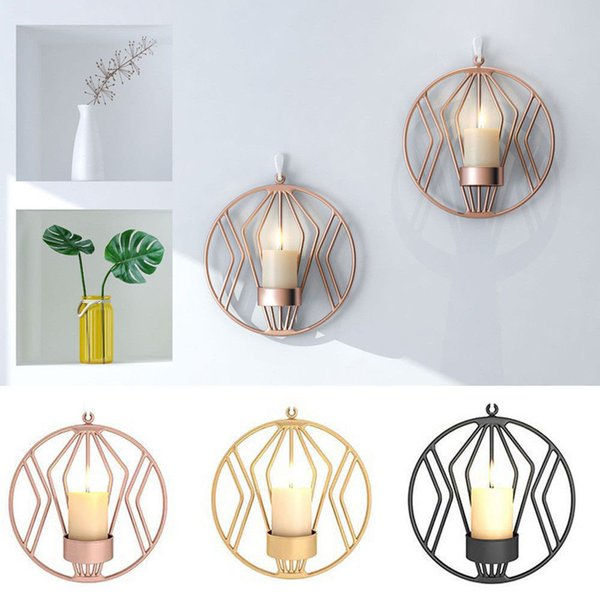 Geometric Candlestick Metal Wall Candle Holder Sconce Wedding Party Home Decor