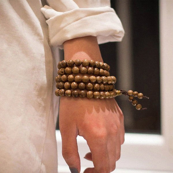 Prayer Beads Bracelet 108 Tibetan Buddha Charm Mala Meditation Necklace Yoga Rosary lucky Wooden Bracelet For Women Men Jewelry