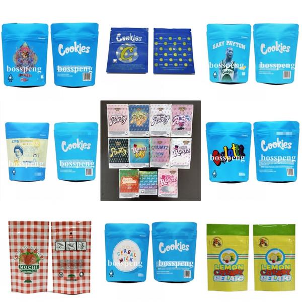 Cookies Emballage Citron CHERRY GELATO Sac biscuits preuve Mylar odeur de poche Zip serrure Airtight l'épreuve des enfants pour l'emballage sec Herb