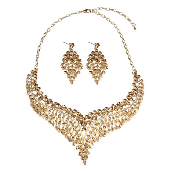 Necklace set exaggerated luxury full diamond clavicle necklace earrings set dress female accessories 0721