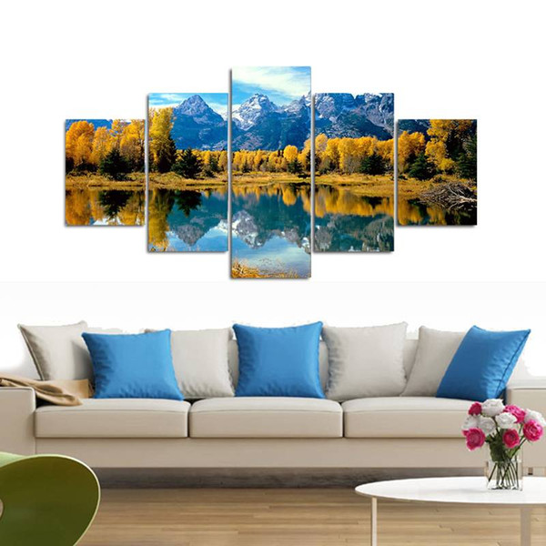 .5pcs/set Unframed The Hill and Lake Landscape Print On Canvas Wall Art Picture For Home and Living Room Decor