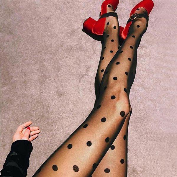 Sexy Stocking Tights Woman Dot Silk Stockings Sexy Ladies Vintage Tattoo Round Dot Nylon Stockings Pantyhose Female Hosiery