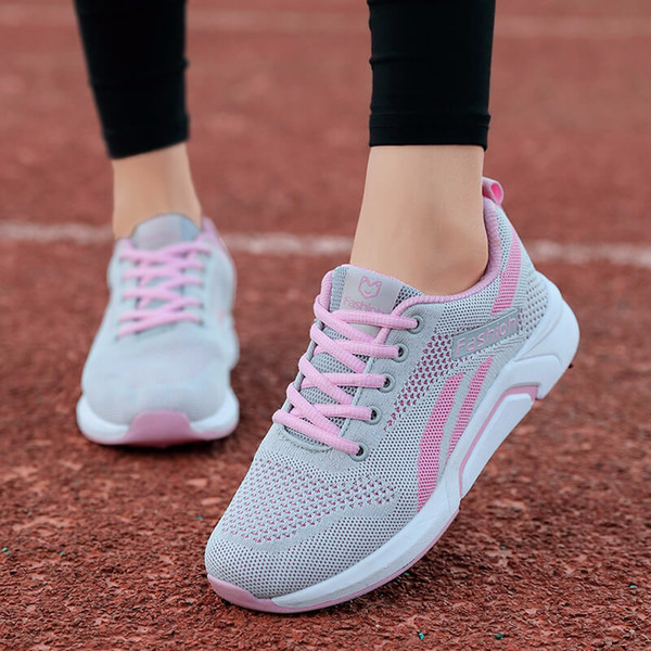 Lace Up Women Running Shoes Sneakers Mesh Breathable Basket Trainers Ladies Lightweight Sport Shoes Jogging Walking Athletics