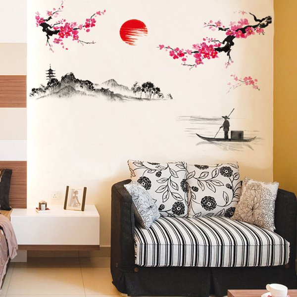 Creative Classical Chinese Style Ink Peach Painting Decorative Wall Stickers for Bedroom Living room TV Wall Art Decoration
