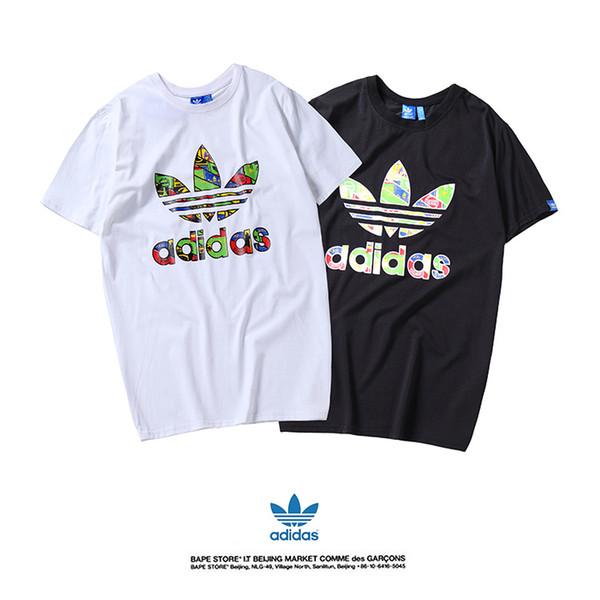 2019 лето новые футболки с коротким рукавом одежды моток логотипа клевер принт футболка поло отложным воротником хлопка повседневная футболка