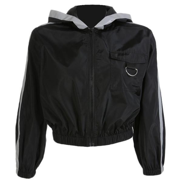 Jaqueta básica preta das mulheres com capuz de mangas compridas bolsos com zíper inverno legal tira reflexiva projetado ocasional outono casaco c19041501