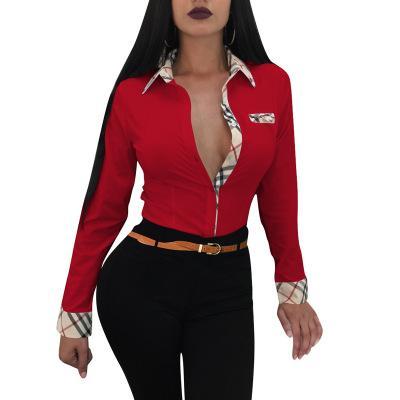 Womens impresión de la raya color de las camisas de verano bloque largo de la manga corta blusas de empresas para mujeres Delgado botón de cierre camiseta impresa Rojo Azul Negro