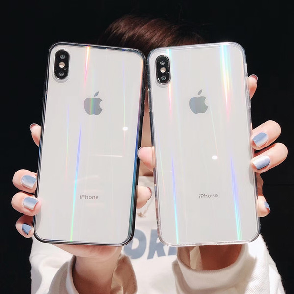 Luxury Glitter Laser Clear Phone Case for iPhone Xs Xr X Cases Shockproof TPU Rainbow Shining Case for iPhone Xs Max Glass Case
