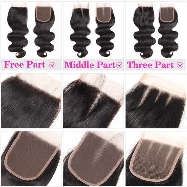 100% Human Hair 4X4 Lace Closure Brazilian Straight Hair Body Wave Top Lace Closure Free Middle Three Part Peruvian Malaysian Cheapest Price