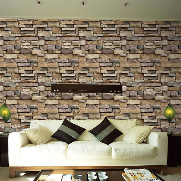 3D Stein Ziegelstein Tapete Abnehmbare PVC Wandaufkleber Ausgangsdekor Kunst Tapeten für Schlafzimmer Wohnzimmer Hintergrund Aufkleber