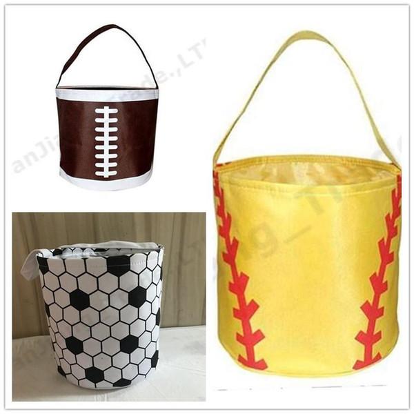 Cestas de Páscoa Esportes Bolsas de Lona de Futebol de Basquete de beisebol de Futebol Softball Balde de Lona Reversível sacos de Armazenamento De tecido mix A331