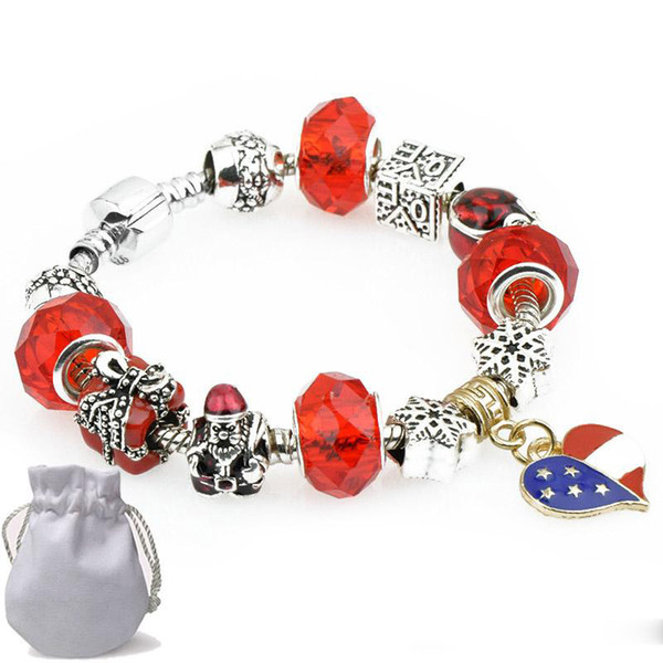2019Golden Heart Pendants Charm Bracelets Fit Pandora Boy Girl Red Crystal Glass Beads Snowflake Santa Claus Silver Jewelry Christmas