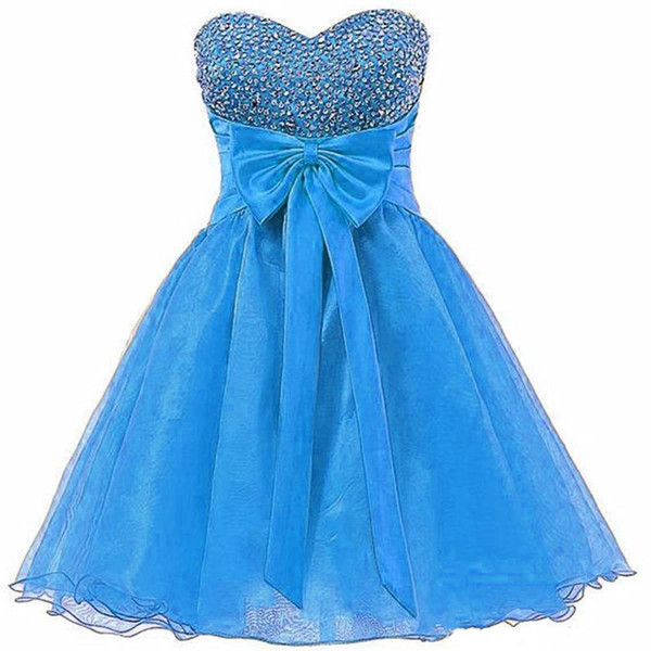 2019 New Sexy Homecoming Dresses Sweetheart Beaded Back Zipper Ball Gown Bow Short Graduation Prom Party Gown