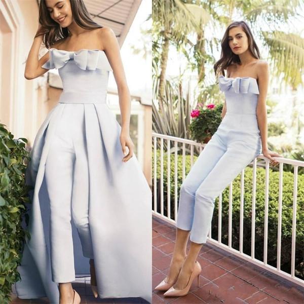 Tulumlar Abendkleider artı boyutu zarif akşam resmi elbiseler parti giyim 2019 nişan gelinlik modelleri ayrılabilir tren vestido de novia
