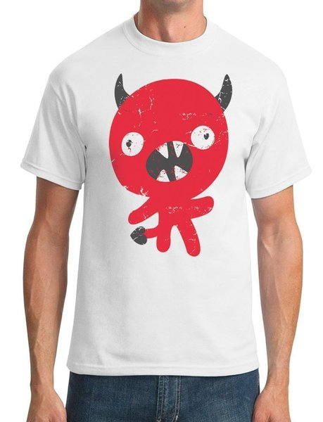 Cute Devil Cartoon - Funny - Mens T-Shirt Cartoon t shirt men Unisex New Fashion tshirt Loose Size top ajax