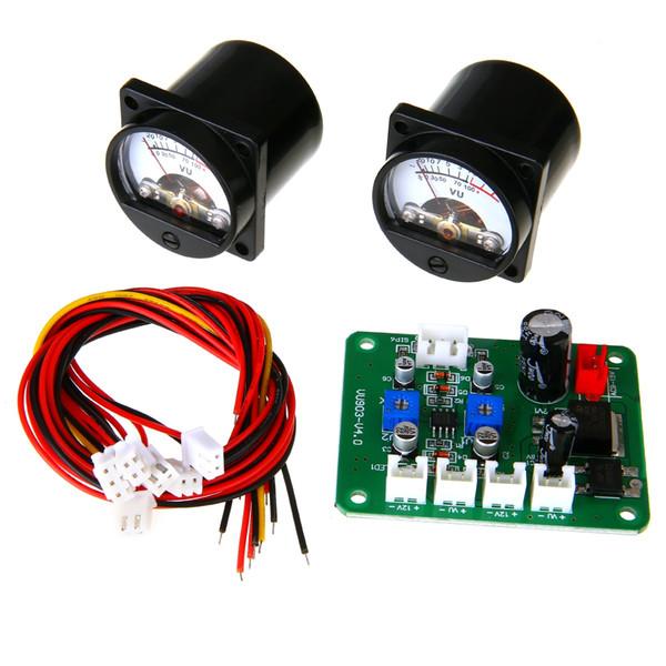 2pcs 10-12V Analog VU Panel Meter 500UA Calda luce posteriore Level Meter + Durable Driver Module Board + Cable