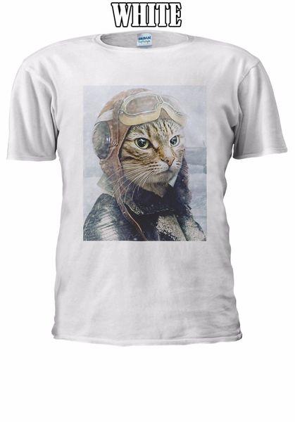 Kedi Pilot Serin Komik Ordu T-shirt Yelek Tank Top Erkek Kadın Unisex En Ücretsiz Kargo T-shirt Harajuku Yaz 2018 Tshirt