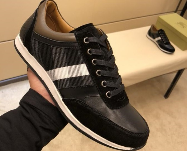 New Luxury Designer Shoes High Quality Brand Men's Casual Shoes Leather Fabric Stitching size 38-45
