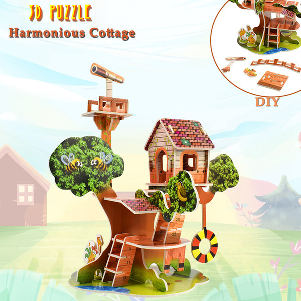 top popular 3D Puzzles Toys Harmony Hut DIY Cardboard House Building Model Kits Educational Toys for Kids Creative Gift Desktop Home Decoration 2021