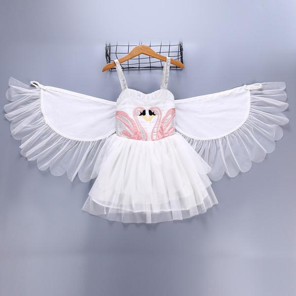 Розничная девочка крещение платье крещение платье Лебединые Крылья Ангел фламинго суспендер жилет Принцесса платье бутик дети дизайнер девушки платья